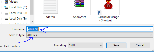 xxx - Phá máy tính với cmd, file .bat