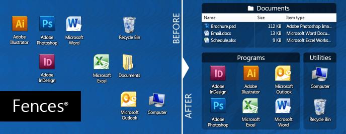 Công cụ sắp xếp Icon trên Desktop - Stardock Fences