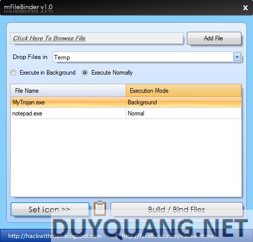 MFileBinder - Tool Tiêm Virus vào file Exe 1