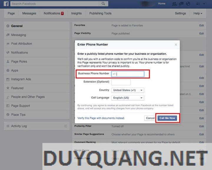 3 - Cách xác nhận Fanpage cho doanh nghiệp trên Facebook (dấu stick)