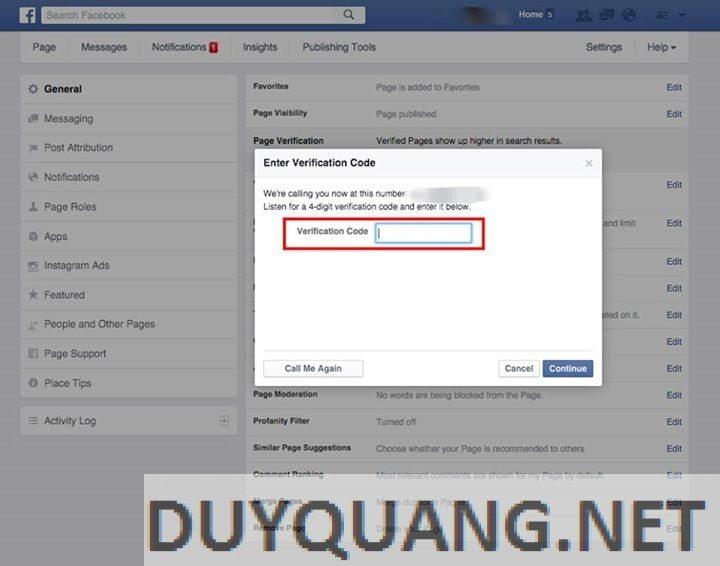4 - Cách xác nhận Fanpage cho doanh nghiệp trên Facebook (dấu stick)