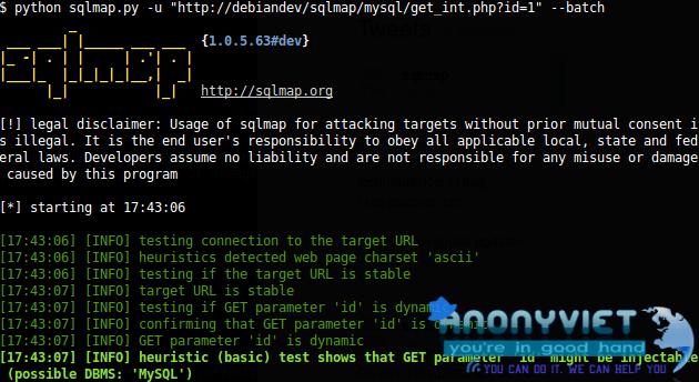 screenshot - Hướng dẫn sử dụng SQLMap