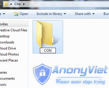 2x - Mẹo Tạo thư mục không thể xóa trên Windows