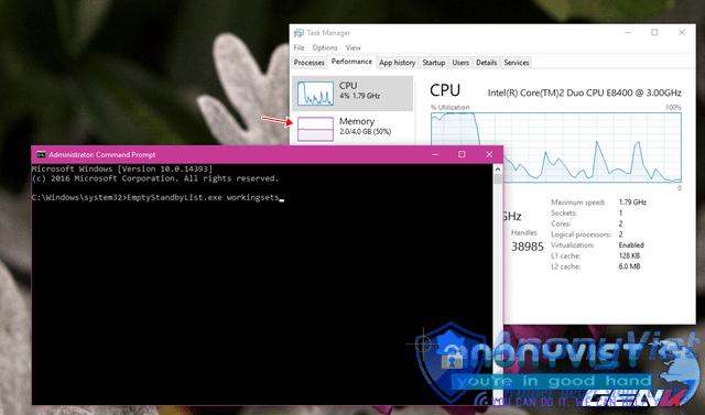 Dung lượng RAM bị chiếm dụng ban đầu trước khi chạy lệnh là 2GB/4GB.