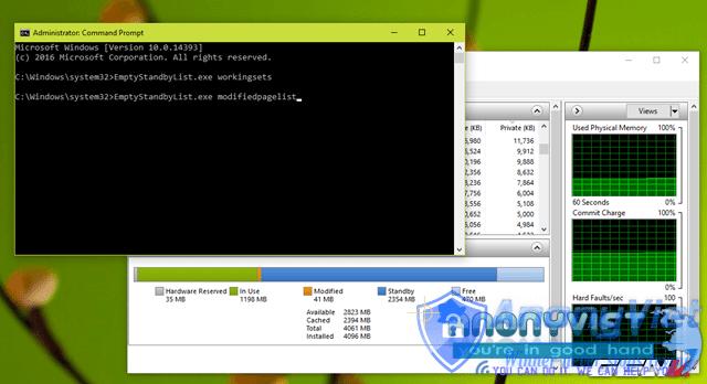 Dung lượng Modified Page File trước khi thực thi lệnh.