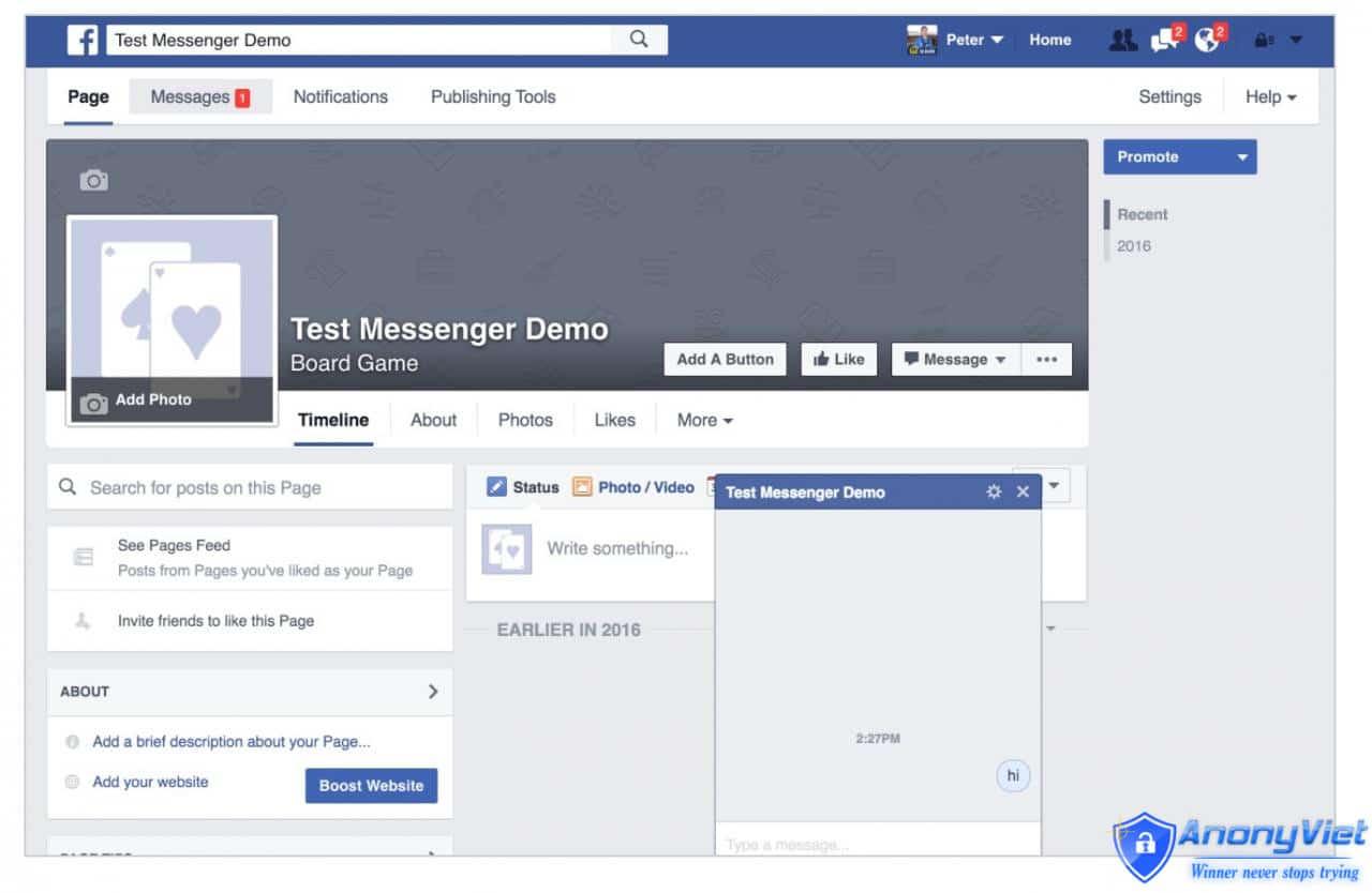 truy cập Facebook và click Message để bắt đầu chat