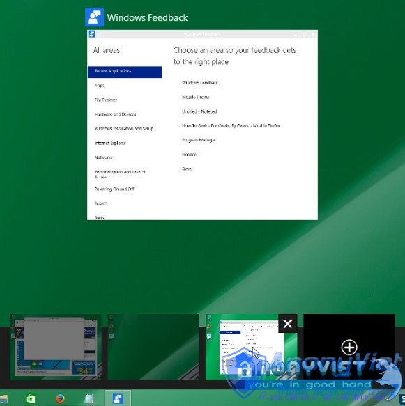 Giao diện virtual desktopb trong windows 10
