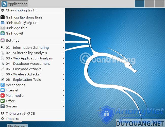 kali linux all programs - Cài đặt và sử dụng Kali Linux trên VmWare