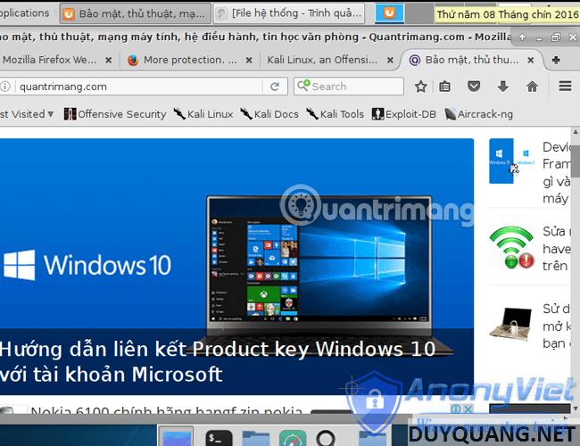 kali linux browser - Cài đặt và sử dụng Kali Linux trên VmWare