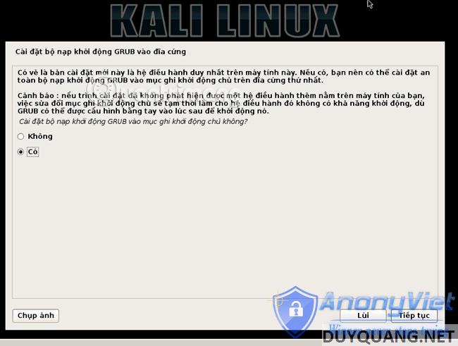 kali linux grub - Cài đặt và sử dụng Kali Linux trên VmWare