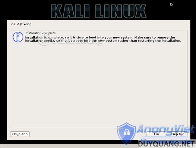 kali linux restart - Cài đặt và sử dụng Kali Linux trên VmWare