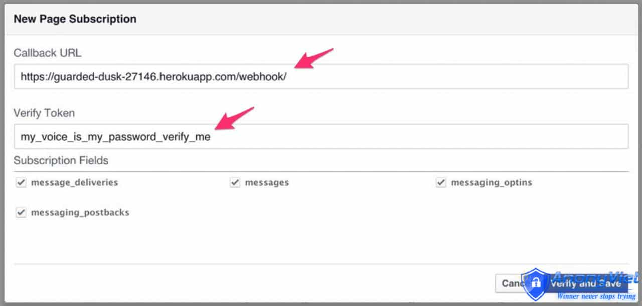 nhập mã URL của server Heroku và mã thông báo