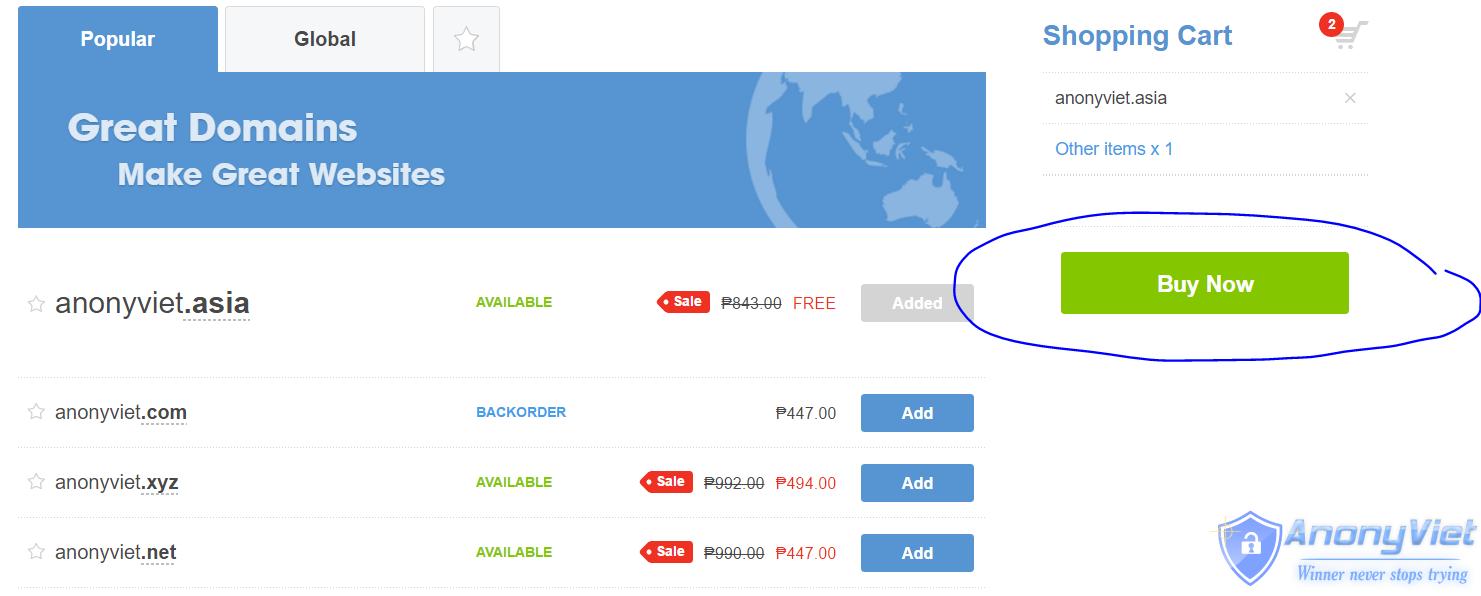 2 - Hướng dẫn Đăng ký Domain .Asia miễn phí