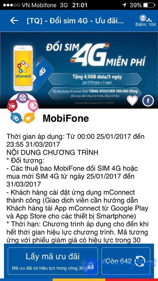 Cách lấy 3G/4G miễn phí gói D10 Mobifone cho 3 ngày 21