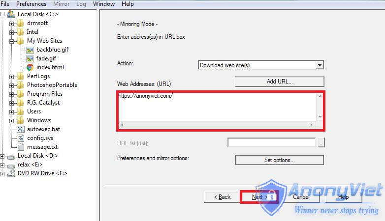 httrack2 - Cách sử dụng HTTrack để download toàn bộ website