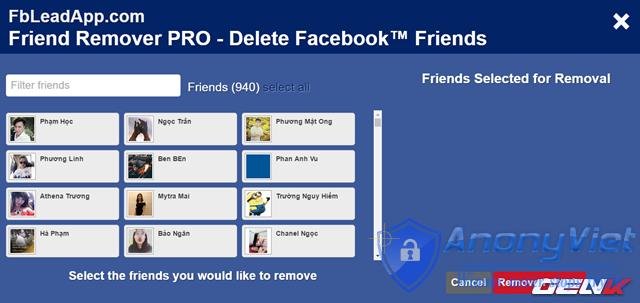 Xóa tất cả bạn bè Facebook trong 2s 30
