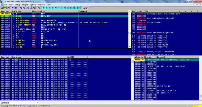 OllyDBG 700x372 - Hướng dẫn sử dụng OllyDBG dùng để crack phần mềm
