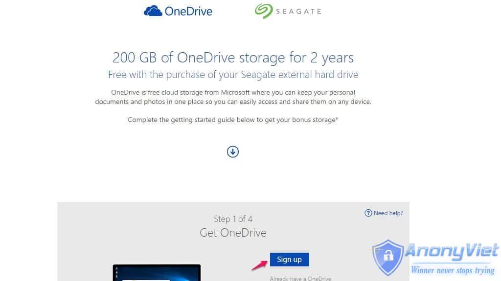 caNel - Hướng dẫn đăng ký nhận 200GB OneDrive miễn phí 2 năm