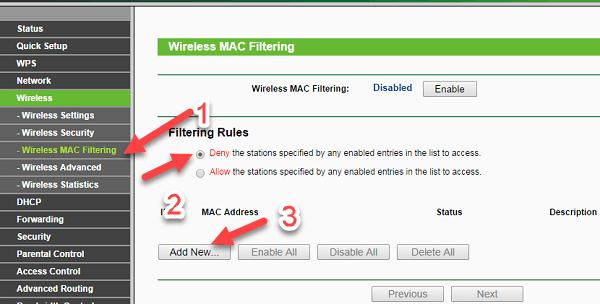 macfilter tplink - Hướng dẫn Chặn các thiết bị lạ kết nối đến Wifi của bạn