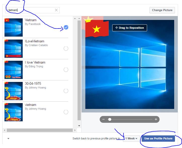 Capture 4 - Hướng dẫn treo cờ Tổ quốc Avatar Facebook các dịp lễ lớn