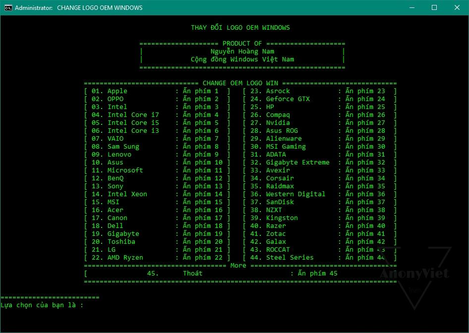 Tools đổi thông tin OEM máy tính 22