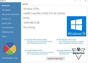 FixWin Công cụ sửa lỗi Windows 10 cực tốt 1