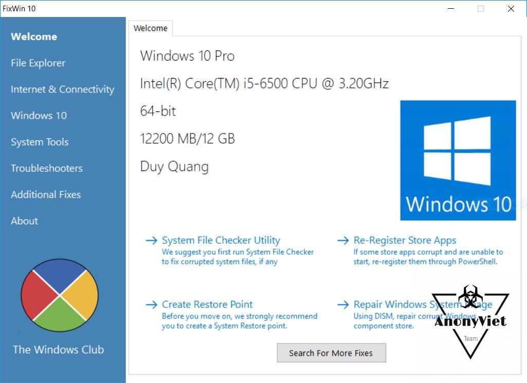 FixWin Công cụ sửa lỗi Windows 10 cực tốt 7