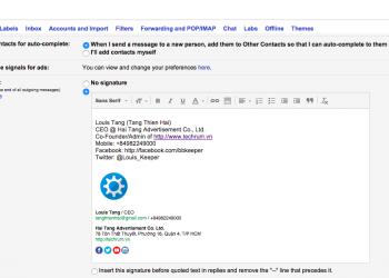 Hướng dẫn tạo chữ kí email bằng HTML