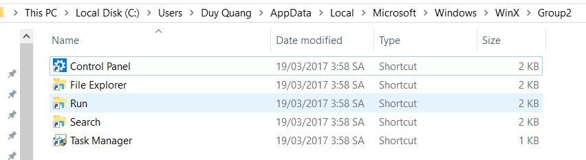 appdata - Hướng dẫn đưa Control Panel vào menu Windows X trên Windows 10