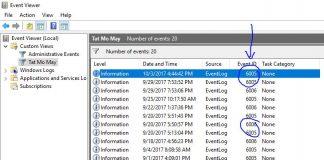 Cách theo dõi thời gian bật tắt máy tính với Event Viewer 6