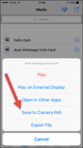 save to camera roll - Cách Download Video Facebook trên Android và iOS