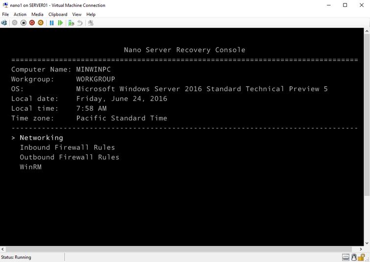 Nano Server Recovery Console.