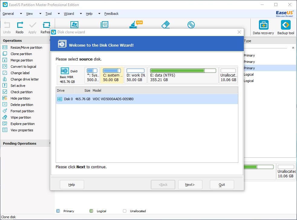 chia ổ đĩa không mất dữ liệu EASEUS Partition Master
