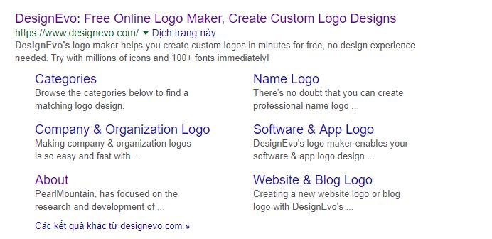 DesignEvo design logo on Google