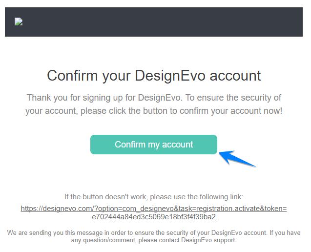 Mail xác nhận DesignEvo Logo