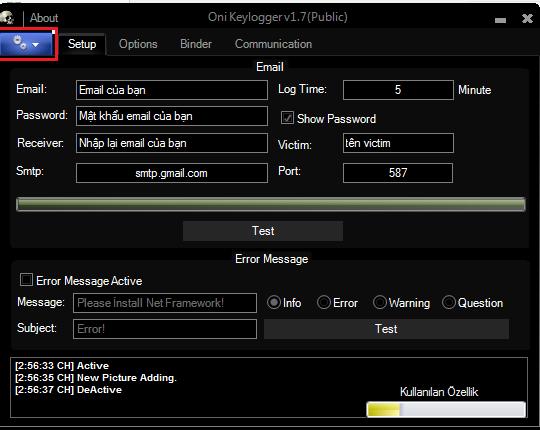 Capture7 - Oni Keylogger v1.7 theo dõi máy tính Full Version 2018
