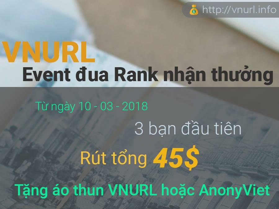 event vnurl - Đua Rank nhận quà hấp dẫn cùng VNURL