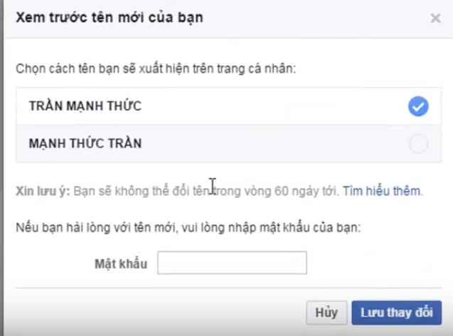 Hướng dẫn đổi tên Facebook IN HOA 7