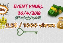 Event VNURL tăng Rate 3,5$/1000 Views