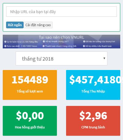 kiếm tiền bằng link rút gọn - kết quả