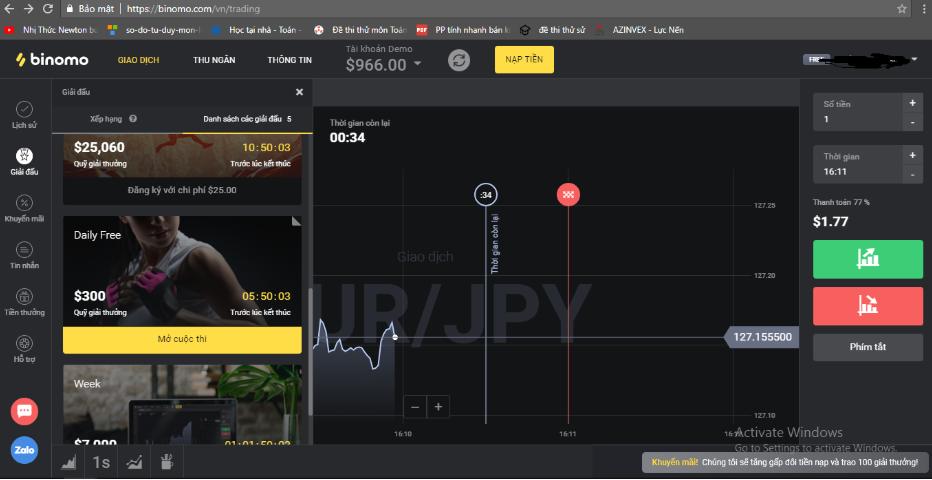 Kiếm tiền từ vốn 0đ tại sàn giao dịch BINOMO