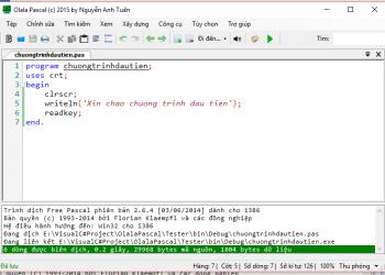 Olala Pascal - Trình biên soạn Pascal giao diện dễ sử dụng 1