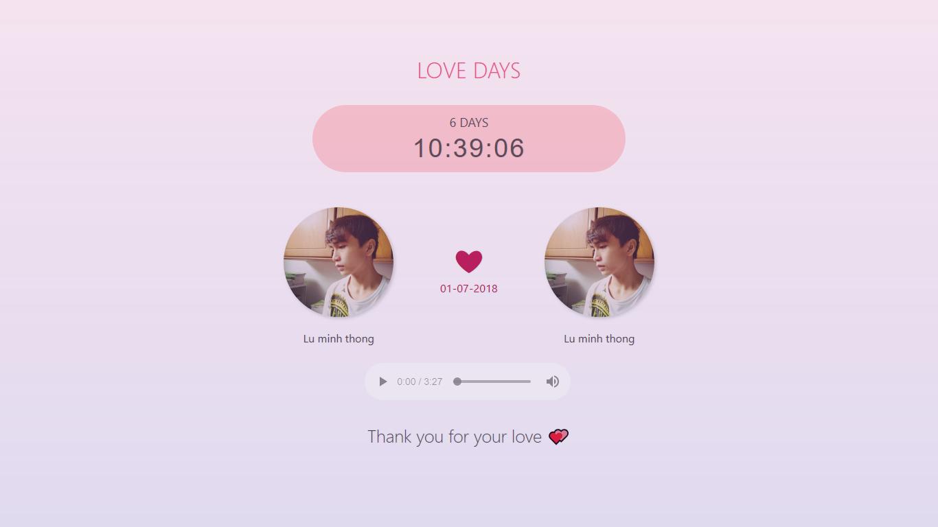Screenshot 5 - Hướng dẫn tự làm website đếm ngày yêu nhau cực dễ thương