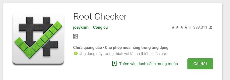 Root máy android thần tốc bằng Root Checker