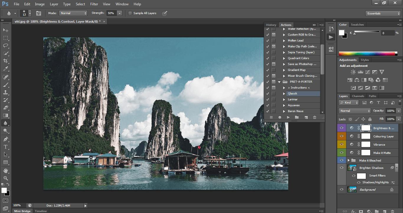 action photoshop tự động blend màu