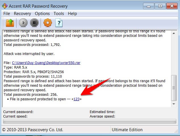 ACCENT RAR PASSWORD RECOVERY - Crack Password Winrar với vài bước đơn giản 10