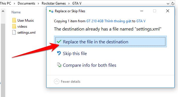 Ghi de file mod len file setting cu