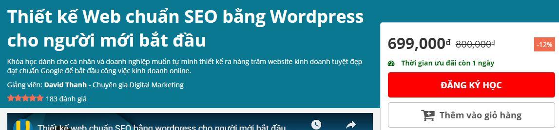 Miễn phí khóa học thiết kế Web chuẩn SEO với Wordpress 4