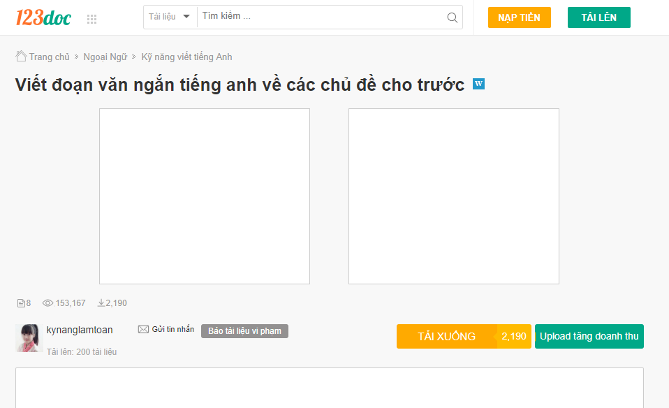 Cách Download tài liệu miễn phí từ 123doc.org, tailieu.vn, luanvan.net.vn